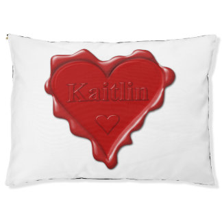 Kaitlin. Red heart wax seal with name Kaitlin Large Dog Bed