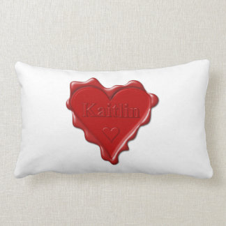 Kaitlin. Red heart wax seal with name Kaitlin Lumbar Pillow