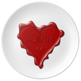 Kaitlin. Red heart wax seal with name Kaitlin Porcelain Plates