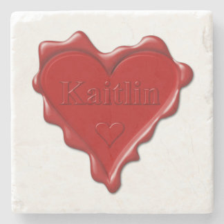 Kaitlin. Red heart wax seal with name Kaitlin Stone Beverage Coaster