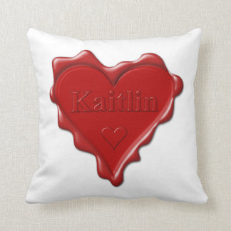 Kaitlin. Red heart wax seal with name Kaitlin Throw Pillow