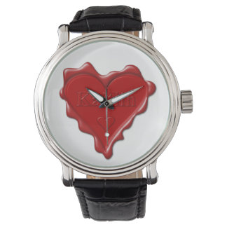 Kaitlin. Red heart wax seal with name Kaitlin Watch