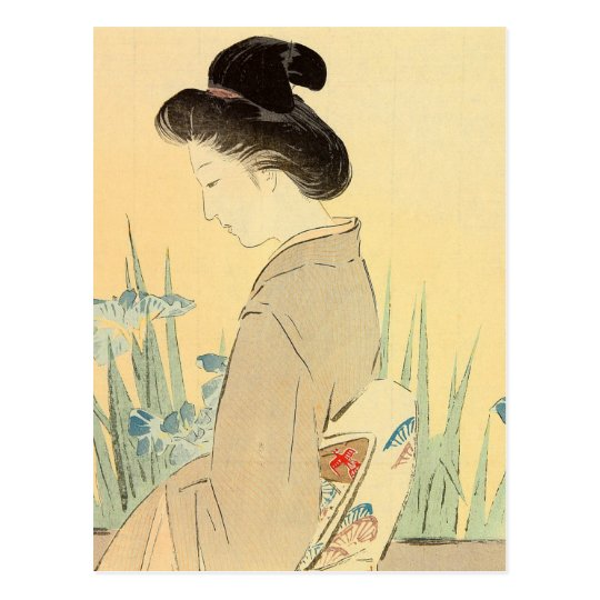 Kajita, Beauty and Irises Japanese Woodblock Print Postcard