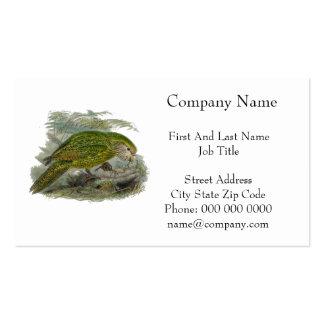 Kakapo Green Parrot Vintage Illustration Business Card Template