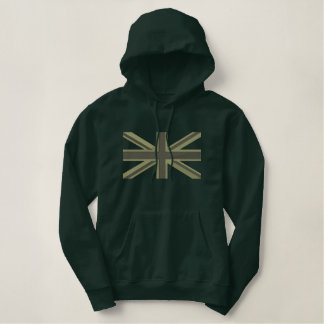 Kaki Union Jack Flag England Swag Embroidery Embroidered Hoodie