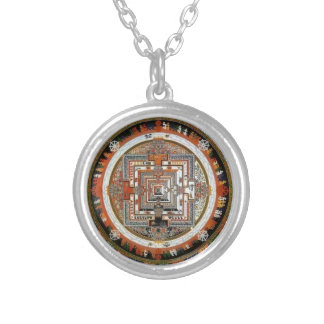 Kalachakra Sand Mandala Silver Plated Necklace