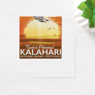 Kalahari Desert Adventure travel poster Square Business Card