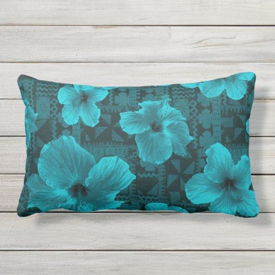 Kalalau Tapa Tropical Hawaiian Hibiscus Outdoor Lumbar Pillow