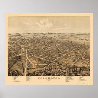 Kalamazoo, MI Panoramic Map - 1874 Poster