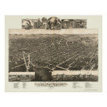 Kalamazoo, MI Panoramic Map - 1883 Poster
