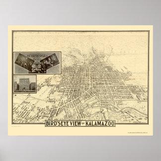 Kalamazoo, MI Panoramic Map - 1908 Poster