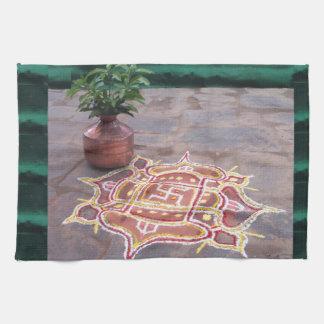 Kalas Vase swastika rangoli indian wedding Symbols Hand Towel