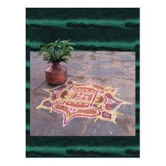 Kalas Vase swastika rangoli indian wedding Symbols Postcard
