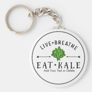 Kale Vegetarian Live Breathe Eat Kale Custom Basic Round Button Keychain