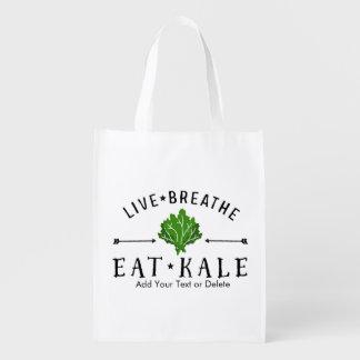 Kale Vegetarian Live Breathe Eat Kale Custom Reusable Grocery Bag