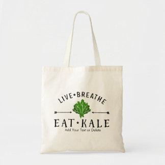 Kale Vegetarian Live Breathe Eat Kale Custom Tote Bag