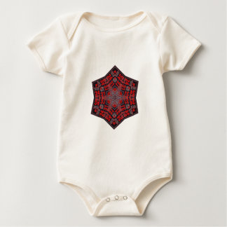 kaleido tribal design black and red baby bodysuit