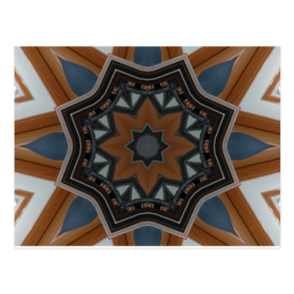 Kaleidoscope brown star postcard