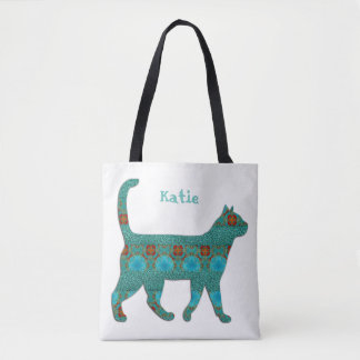 kaleidoscope Cat With Stripes Of Turquoise Texture Tote Bag