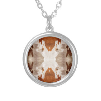 Kaleidoscope Cow Hide Pattern Silver Plated Necklace