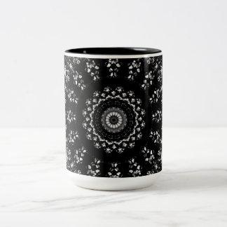 Kaleidoscope crystals mandala in black and white Two-Tone coffee mug