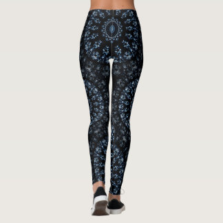 Kaleidoscope crystals mandala indigo blue on black leggings