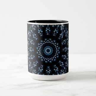 Kaleidoscope crystals mandala indigo blue on black Two-Tone coffee mug