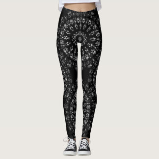 Kaleidoscope crystals mandalas in black and white leggings
