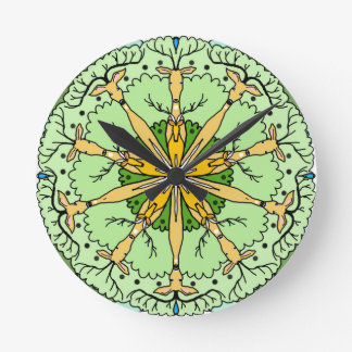 Kaleidoscope deer round clock