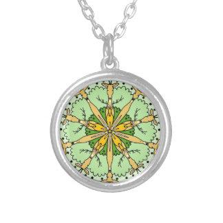 Kaleidoscope deer silver plated necklace