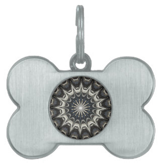 Kaleidoscope Design Black Gray Blue White Art Pet Name Tag