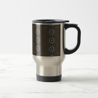 Kaleidoscope Design Black Gray Blue White Art Travel Mug