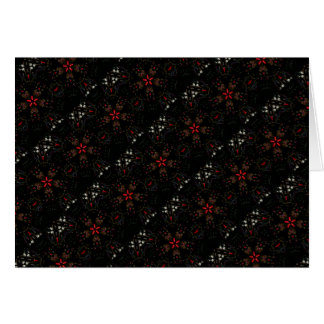 Kaleidoscope Design Black Red Floral Pattern Card