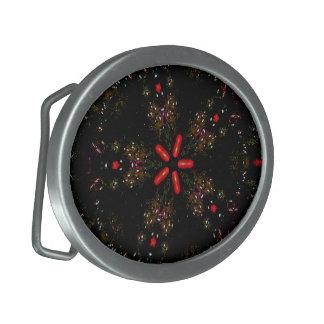 Kaleidoscope Design Black Red Floral Pattern Oval Belt Buckle