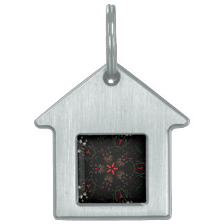 Kaleidoscope Design Black Red Floral Pattern Pet ID Tags