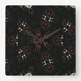 Kaleidoscope Design Black Red Floral Pattern Wall Clock