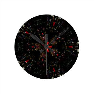 Kaleidoscope Design Black Red Floral Pattern Wall Clocks
