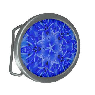 Kaleidoscope Design Blue Purple Floral Art Belt Buckle