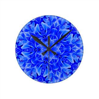 Kaleidoscope Design Blue Purple Floral Art Clocks