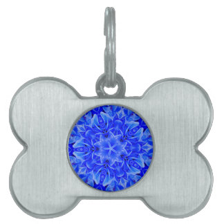 Kaleidoscope Design Blue Purple Floral Art Pet ID Tags