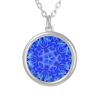 Kaleidoscope Design Blue Purple Floral Art Silver Plated Necklace