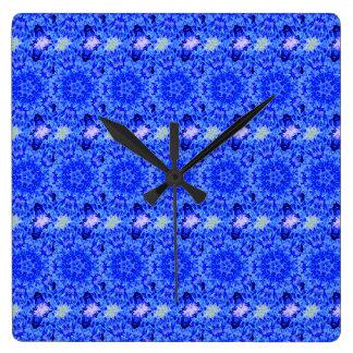 Kaleidoscope Design Blue Purple Floral Art Wall Clock