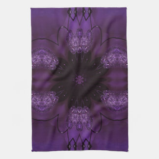 Kaleidoscope Design Chic Elegant Shiny Purple Kitchen Towel