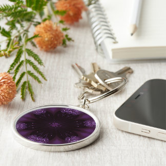 Kaleidoscope Design Chic Elegant Shiny Purple Silver-Colored Round Keychain