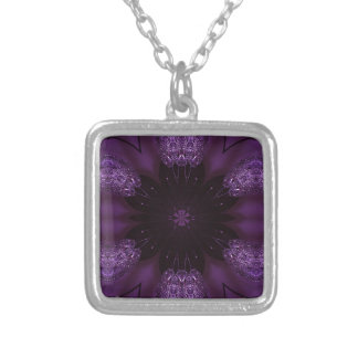 Kaleidoscope Design Chic Elegant Shiny Purple Silver Plated Necklace