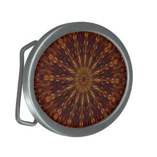 Kaleidoscope Design Dark Brown Floral Pattern Belt Buckles
