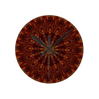 Kaleidoscope Design Dark Brown Floral Pattern Wallclocks