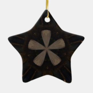 Kaleidoscope Design Dark Brown Rustic Art Ceramic Star Ornament