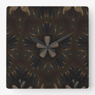Kaleidoscope Design Dark Brown Rustic Art Clocks