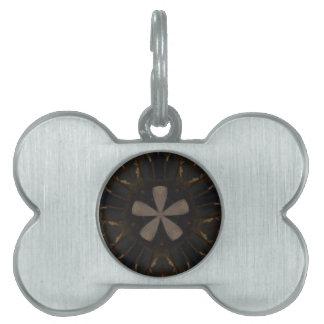 Kaleidoscope Design Dark Brown Rustic Art Pet ID Tags